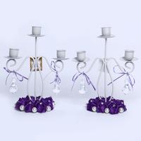 GAGA ! 3-light iron 23*20 (cm) purle  handmade wedding candlestick decoration 10 pcs/lot , XA100-4