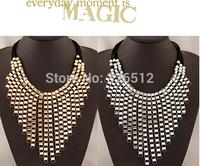 European Multi Strand Black Rope Chain Beads Metal Geometry Big Pendants Statement Necklace Long Tassel Chocker Necklace Jewelry