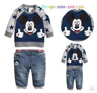 2014 Boys  jeans suit Autumn clothing new cartoon long-sleeved t-shirt + pants 2pcs / set Leisure Suit