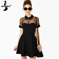 New 2014 Fashion summer chiffon dress sexy casual patchwork women dress solid color hollow out slim vestido dresses