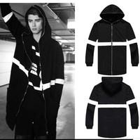 Diablo series Wizards of hip-hop mens hoodies multi-zipper design models fall men's hooded sweater coat hem arc extended