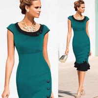 European brand women dress Round neck sleeveless dress women Buttons irregular dress for women