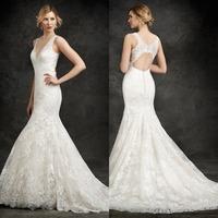 Alluring Mermaid V-Neck Long Backless Wedding Dress Bridal Gown Straps Bridal Wedding Gown Floor LengthF760