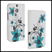 Flower Stand Wallet PU Leather Case 2 in 1 Cover for HTC One M8 50 pcs/lot
