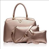 2014 fashion women PU leather V design three-piece ( handbag+messenger bag+clutch ) causal bolsas femininas Free Shipping WXT337