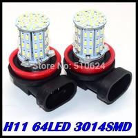 Free shipping 10pcs/lot H11 LED 3014SMD 64LED  Car LED FOG LAMP Light High Beam Light Car Auto / Tail / Head light