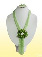 FBH775  Rose the latest design semi-precious stone necklace  bracelet set