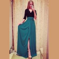 2014  Vestidos De Festa Femininos Chiffon Party Dress Sexy Women Casual Lace Dress Side Slit Long Gown Vestido De Renda 9209