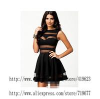 Evening Party Sexy Club Dress 2014 Bodycon Dress Bandage Vestidos Curtos chiffon black lace dress Fashion Women Clothes 2014