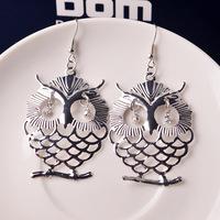 Fashion Stylish and elegant hollow metal pattern sweet eye Owl earrings New style earrings jewelry for women Free shipping