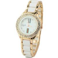 Stylish White Dress Wristwatches Upscale Rhinestone Imitation Ceramic Ladies Watch with Steel Band Female Girls Quartz Watches