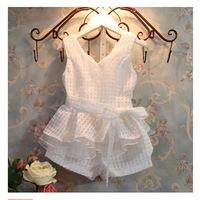 One Piece New 2015 Baby Girls Clothing Set Summer Fashion Children's Vests Set Suit 2~7T Children Clothing For Girl Frozen C25