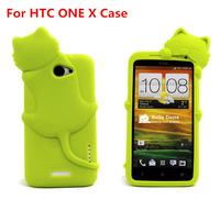 Wholesale 3D Cartoon DER Cat Silicon Case cover  for HTC One X case +1 ear earphone plug free shipping S27