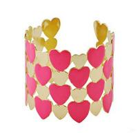 (Min order 6$)Pink enamel heart cuff bangle bracelet bijoux women (B1-143)