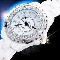 Upscale Stylish Ceramic Waterproof Wristwatches Hot-sale Unisex Ladies Quartz Dress Watches with Rhinestone Decoration