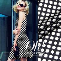 DIY Classic Black&White Plaid Print Stretch Silk(93%) Satin Fabric 1Meter   19Mommie