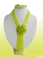 FDE31 Rose the latest design semi-precious stone necklace  bracelet set