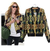 Fashion 2015 Femal Spring Summer Jackets Women Short Jacket Casual Sport Clothes Long-Sleeve Vintage Printed Chiffon Coat Jacket