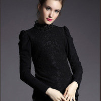 2015 New Arrival Autumn Winter European Style Fashion Women Black Stand Collar Beading Puff Sleeve Thick Velvet Lace Basic Tops
