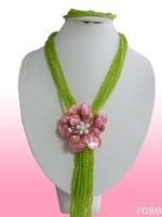 FJFD288  Rose the latest design semi-precious stone necklace  bracelet set