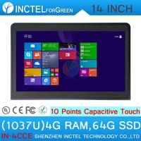 Touch Screen All In One PC celeron 1037u with 10 point touch capacitive touch 4G RAM 64G SSD with HDMI 2*RS232 Windows and Linux