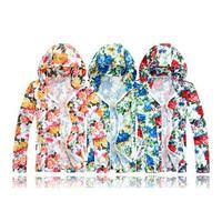 free shipping print flowers hoodies coat beach outwear hooded zipper men's hoodie T65
