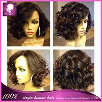 Brazilian glueless full lace human hair bob wig curly wavy short lace African American wigs for black women
