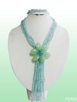 Flk88  Rose the latest design semi-precious stone necklace  bracelet set