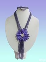 FERT665   Rose the latest design semi-precious stone necklace  bracelet set