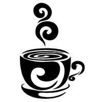 Swirl Coffee Cup cafe vinyl wall art decal stickers Kitchen Decor Removable Art Decor Decal Quote Sticker Mural Inspiration