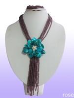 FBCX34  Rose the latest design semi-precious stone necklace  bracelet set