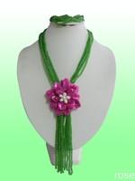 FDJU771  Rose the latest design semi-precious stone necklace  bracelet set