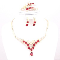 African Wedding Bridal Costume Jewelry Set Indian Crystal African Gold Plated Red Zircon Beads Jewelry Sets