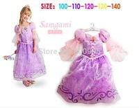 Retail New very beautiful Girl Dress  Princess girls baby  purple frozen Dresses