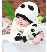 2015 Fashion Unisex Lovely Cartoon Hat+Scarf Children Warm Winter Cap+Scarves HT003