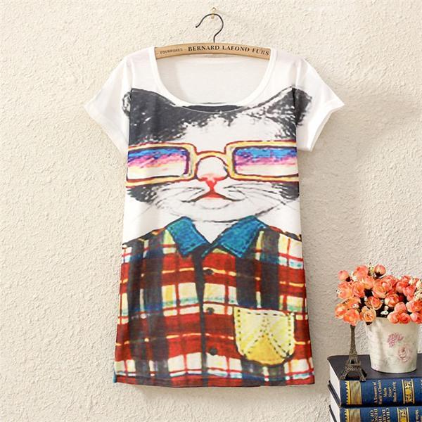 Korea Style Summer New Harajuku Casual Women T-Shirt Mr Cat Loose & Comfortable T Shirt Free Size Women Clothing(China (Mainland))