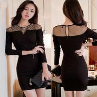 women Lace black dress Shoulder Beaded Perspective vestidos plus size long sleeve dress vestidos de renda club dresses
