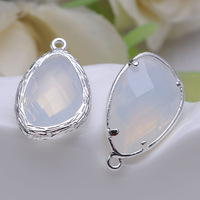 13*22MM Miky White Colour Imitation Zircon Faceted Irregular Bracelet/Necklace Connector,Silver- Plating Pendant Findings P9172