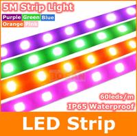 New neon 5M 5050 SMD 300 leds DC12V 60leds/m led strip lights IP65 Waterproof Purple Pink Green Orange Blue strips light