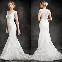 Alluring V-Neck Mermaid Lace Long Wedding Dress Bridal Gown Floor Length Bridal Wedding Gown Cap Sleeve Hollow Back F762