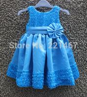Retail 2015 New children girl blue rose flower dress girl party dress for new year free shipping S-01