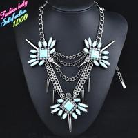 Fashion statement vintage elegant crystal pendant necklaces for women 2015 High quality new arrival shourouk necklaces 4510