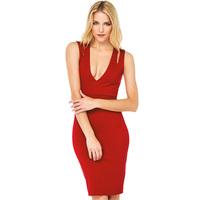 European Style Women New Fashion Sexy Slim Dress Deep V Collar Tight Flexible sleeveless Vest Dress D670