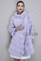 2015 Luxury European Whole-Hide Mink Fur Coat Jacket Mandarin Collar  Winter Women Fur Outerwear Coats Parka QD80197