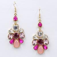 New 2015 women statement unique earrings fashion crystal dangle Earrings for women jewelry wholesale