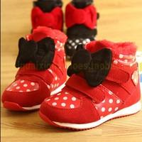Kids Shoes Leather Single Shoes Kids Girls Princess  Flat Shoes Free Shipping Winter Warm Shoes