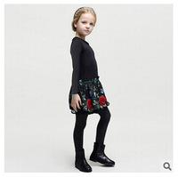 Girl black long sleeve dress wlmonsoon brand children flower embroidery dress kids cotton clothes