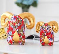 Chinese mascot Flowers cotton fabrics goat Year of the goat Chinese national stuffed goat New arrive