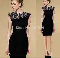 Free hkpost 2015 Womens Elegant BLACK Lace Crochet Sleeveless Prom Bodycon Party Evening Club Career Work Pencil Sheath Dress 08