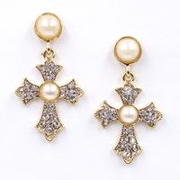 New 2015 women statement unique earrings fashion pearl cross dangle Earrings for women jewelry wholesale
